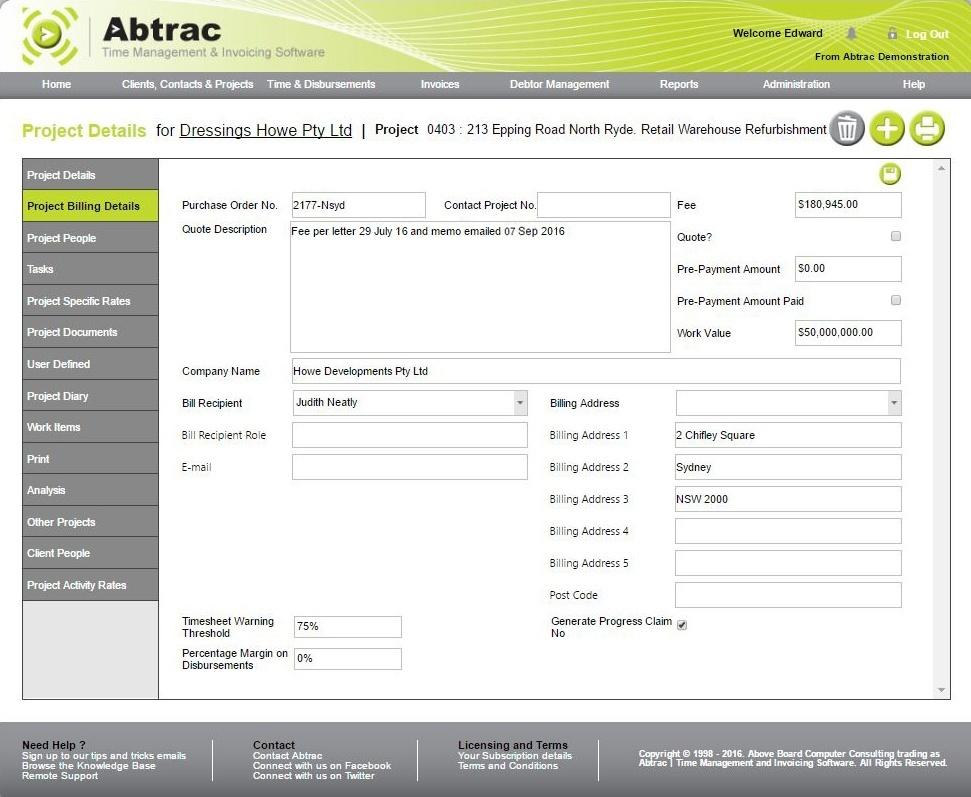 Job management software - billing details