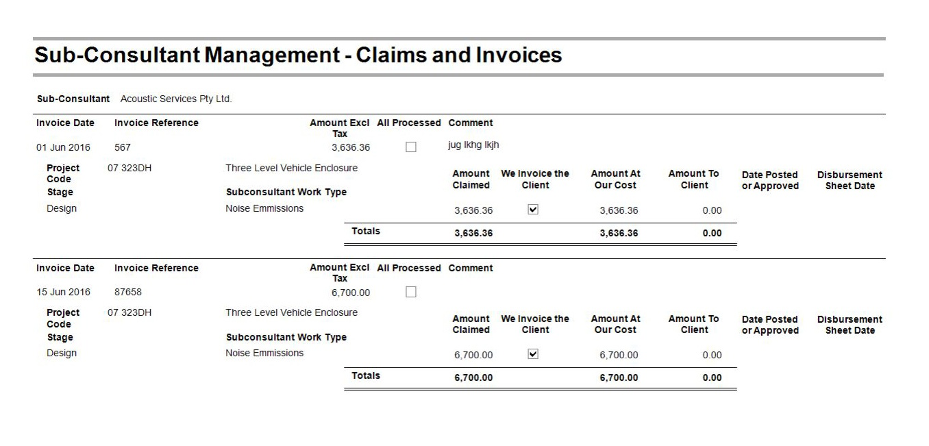 Report Subconsultant Management - Claims and Invoices