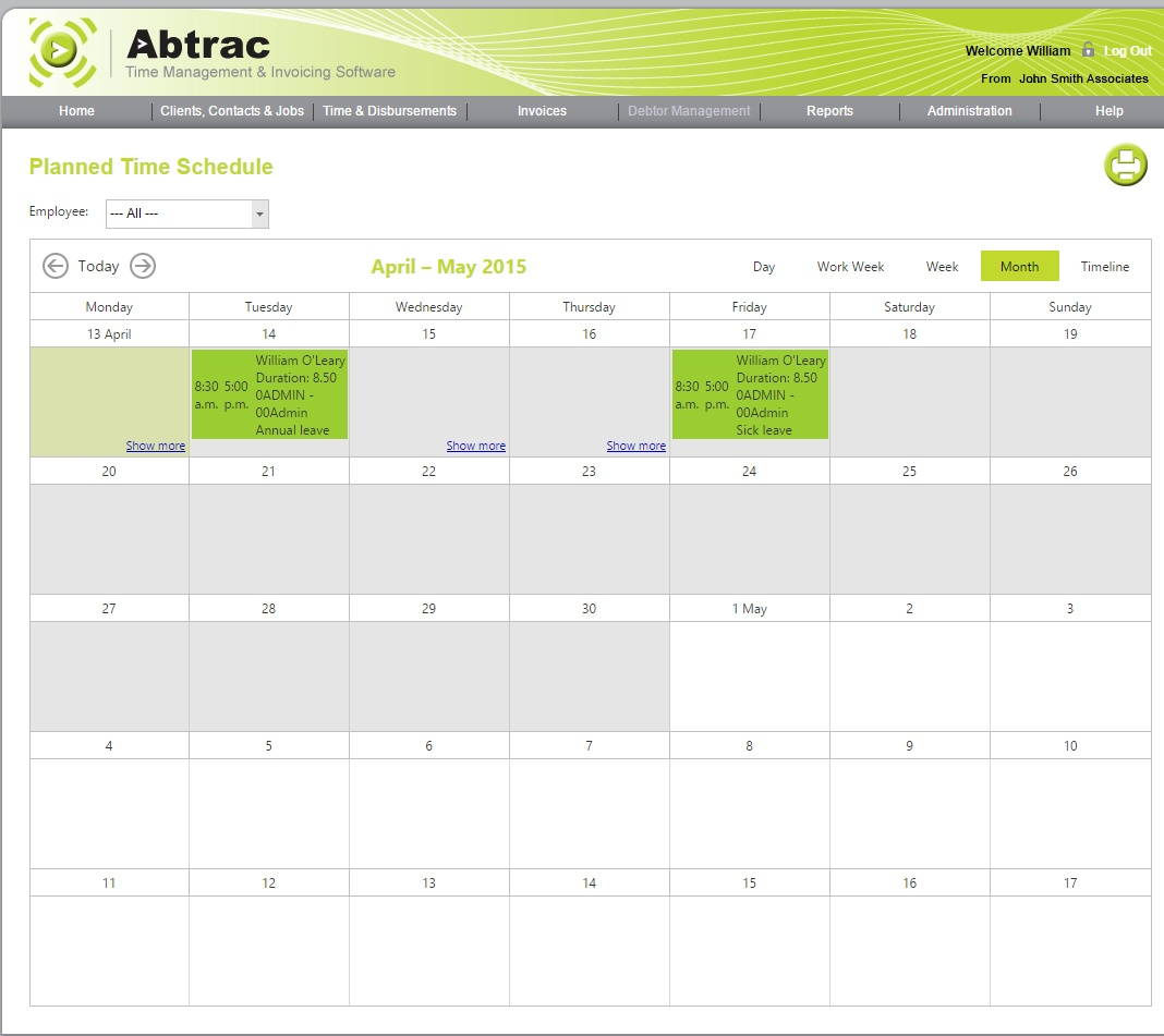 Scheduling software - View by month