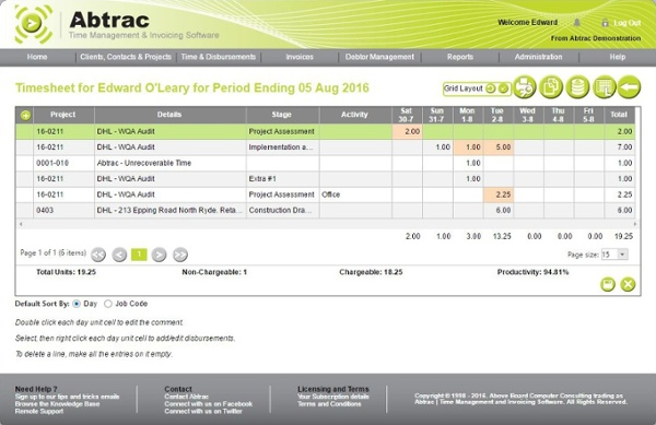 Main tracking time screen - cross-tab view